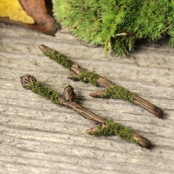 Woodland Nymph Mossy Tiny Twig Hair Pins