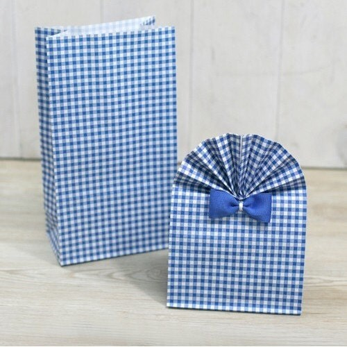 10 Cool Blue Check Paper Bag - 120 x 220 x 65mm
