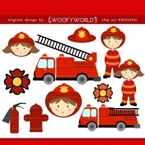 0286 Firefighter Kids clip art commercial and personal use for cards,
