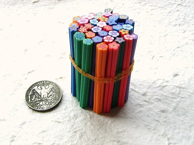 Polymer Clay Cane Sticks Flowers 40 Set D