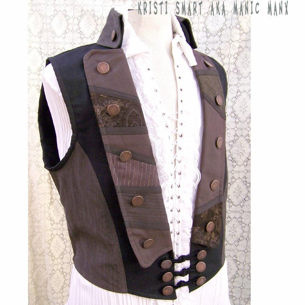 Steampunk pirate vest mens medium. From ManicManx