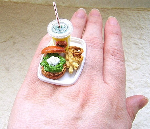 Hamburger And Fries And Drink Ring