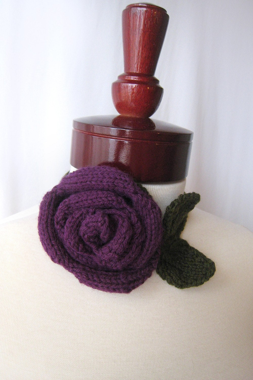 <br />Blooming Plum Wool Rose with Evergreen Leaves and Ties