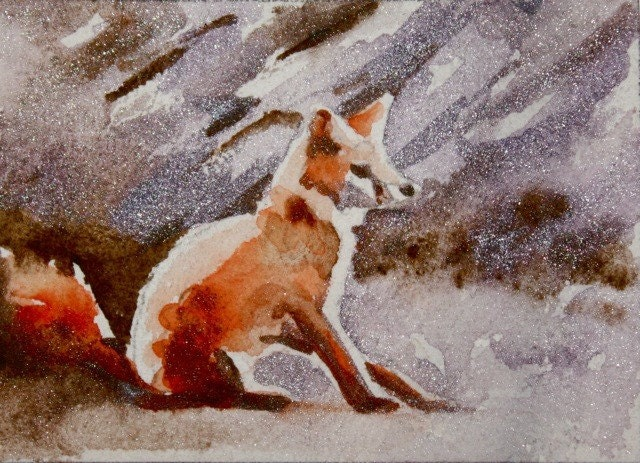 red fox sitting. Red Fox with Glittery Stone