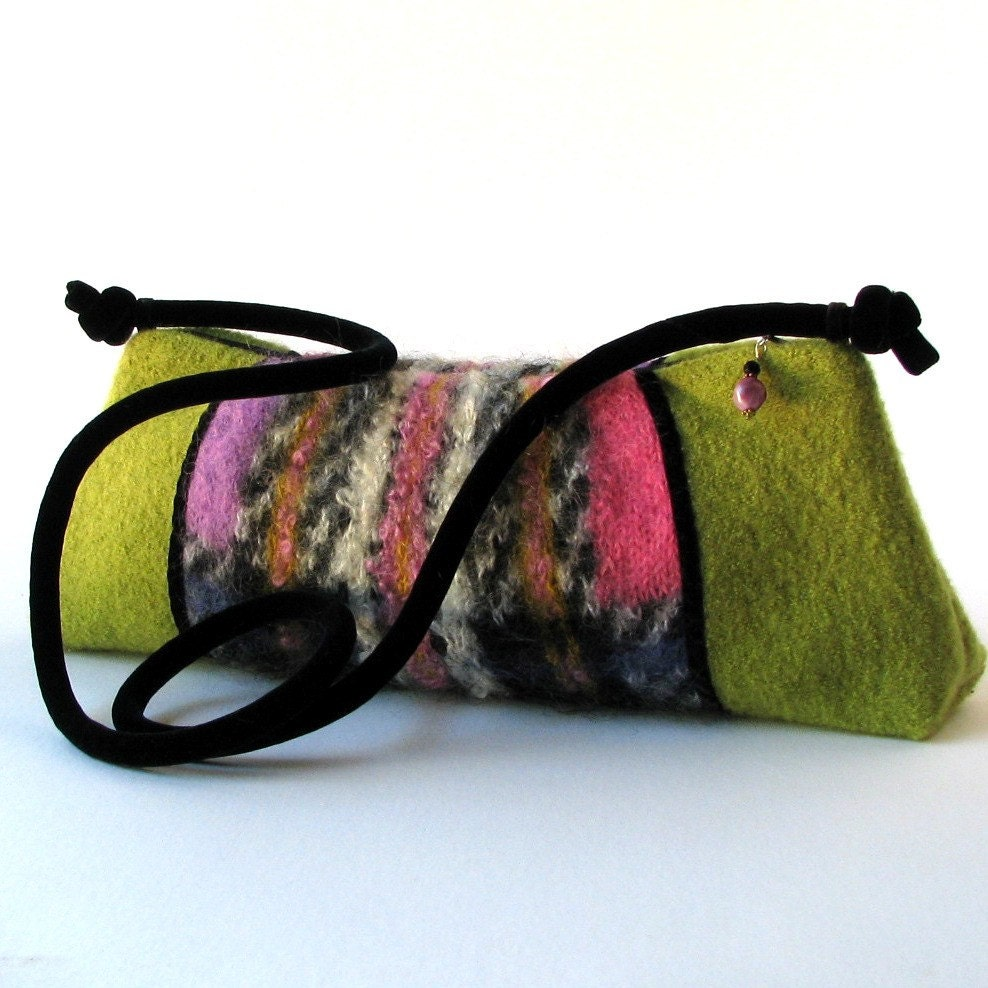 Chartreuse and Plaid Mohair Purse