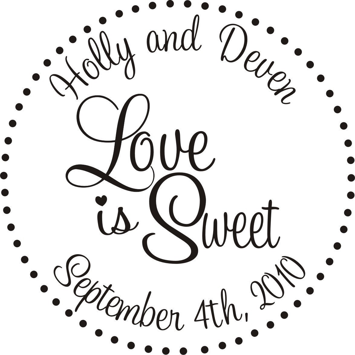 LOVE IS SWEET RUBBER STAMP personalized candy buffet bags for ...