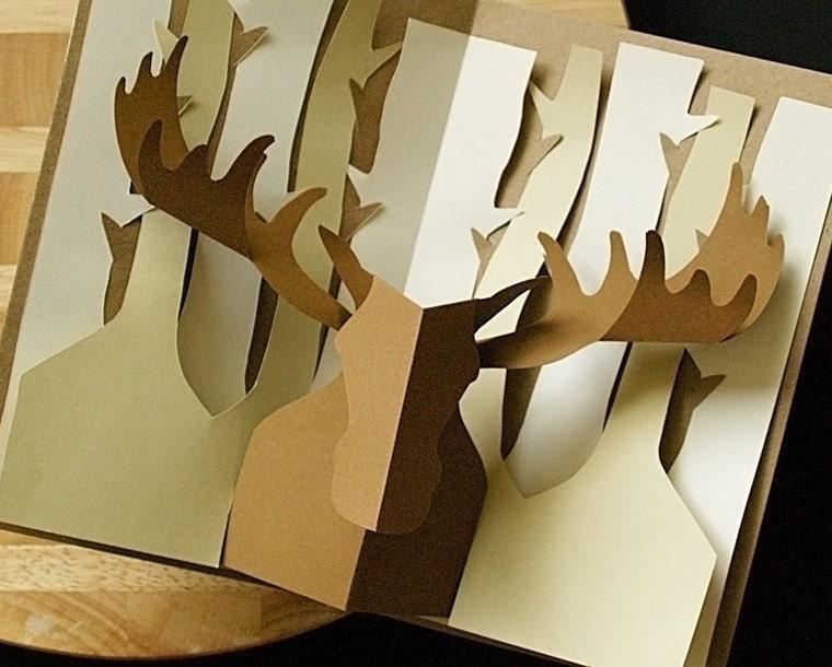 kirigami moose pop up card