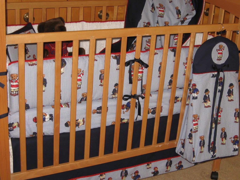 Abc Baby Crib Bedding Set Ralph Lauren Polo Teddy Fabric