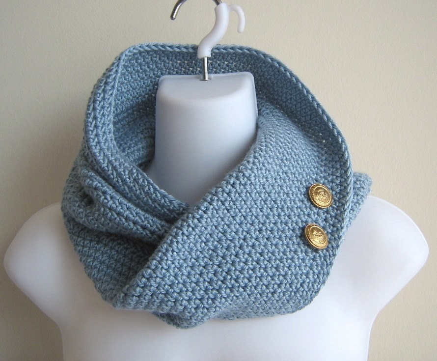 PEYTON- Infinity Cowl Pale Ice Blue Brass Buttons