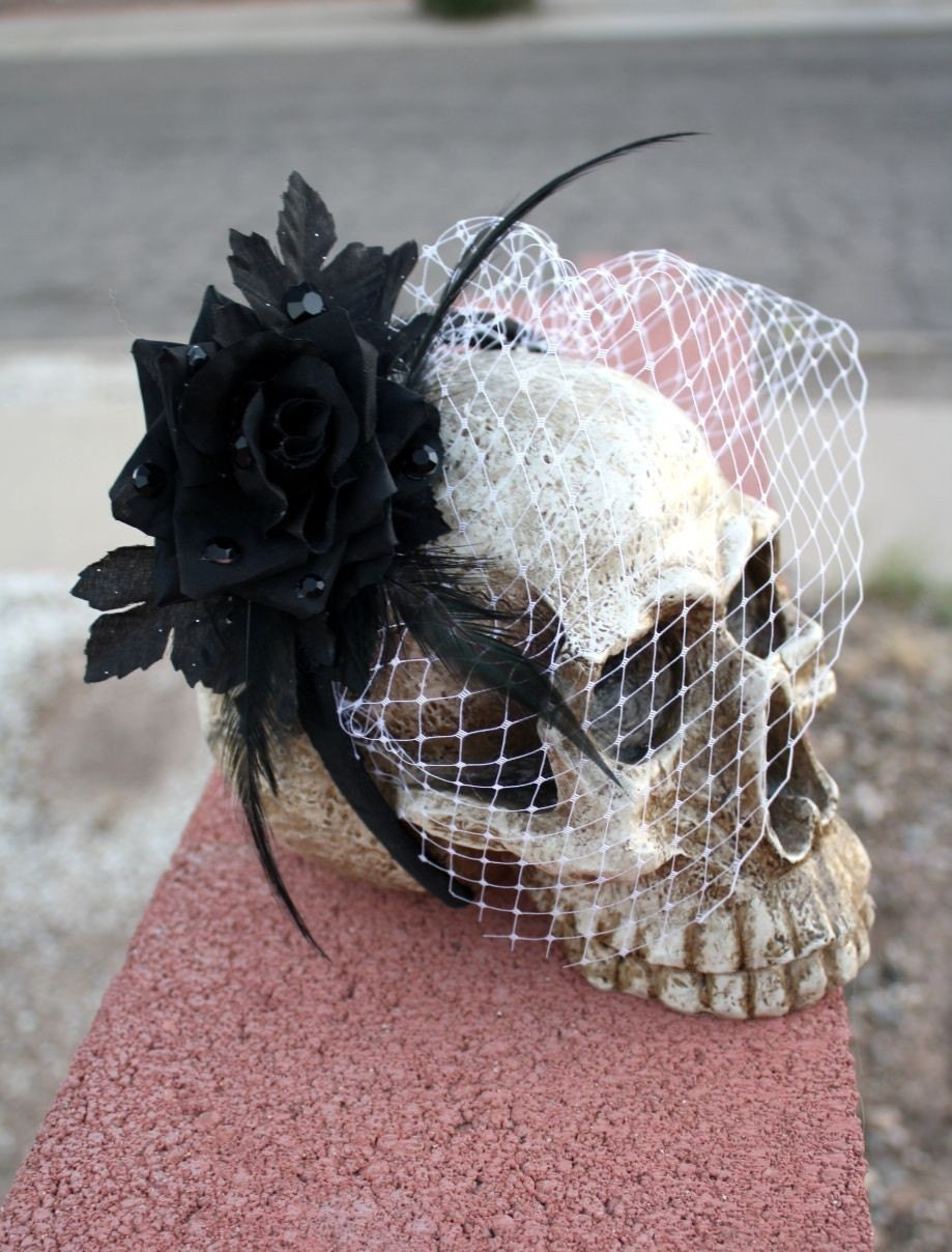 LOLITA Black Rose Headband with Veil