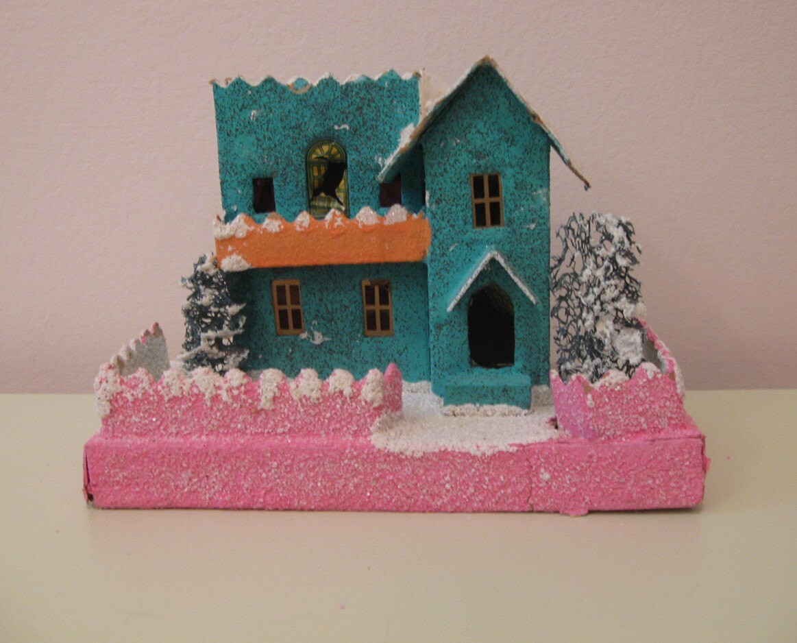 Vintage Large Putz House, Turquoise and Pink, Japan