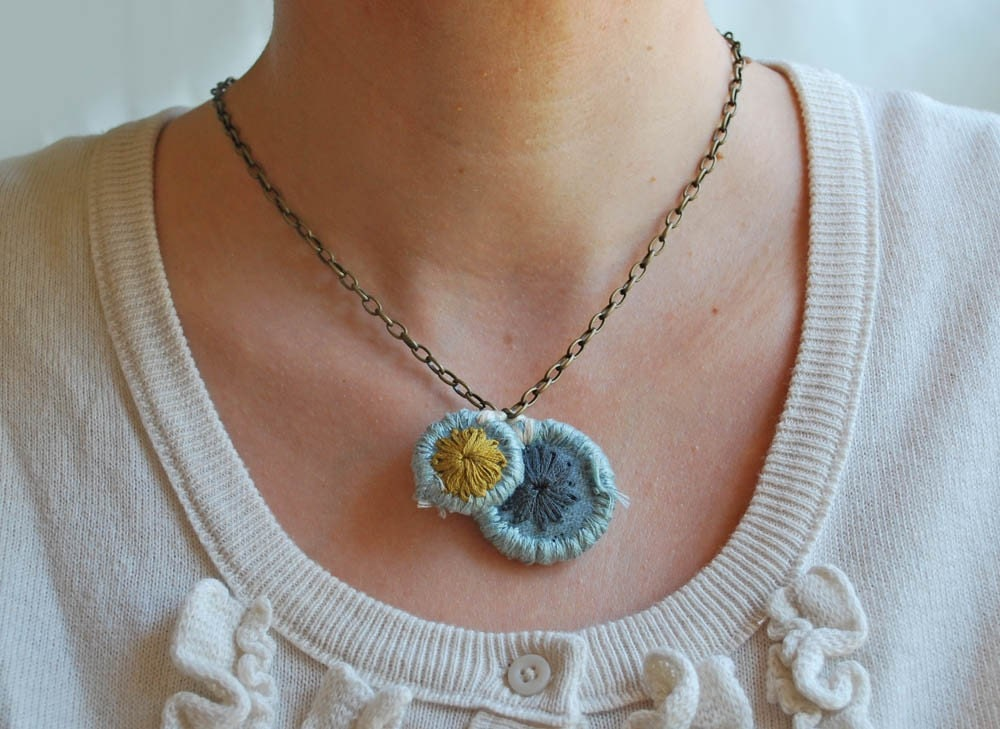 Hand Embroidered Blue Chartreuse Ivory Wool Pendant Necklace