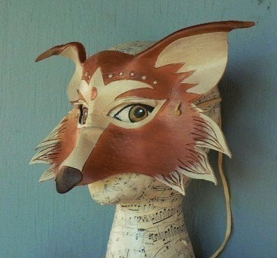 Fox, leather mask for halloween