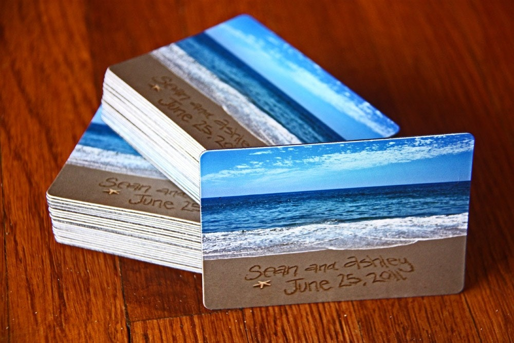 Wedding Save The Date Magnets Beach Wedding Personalized Beach Writing