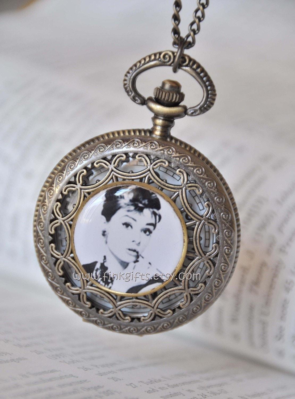 Handmade Audrey Hepburn Pocket Watch Necklace