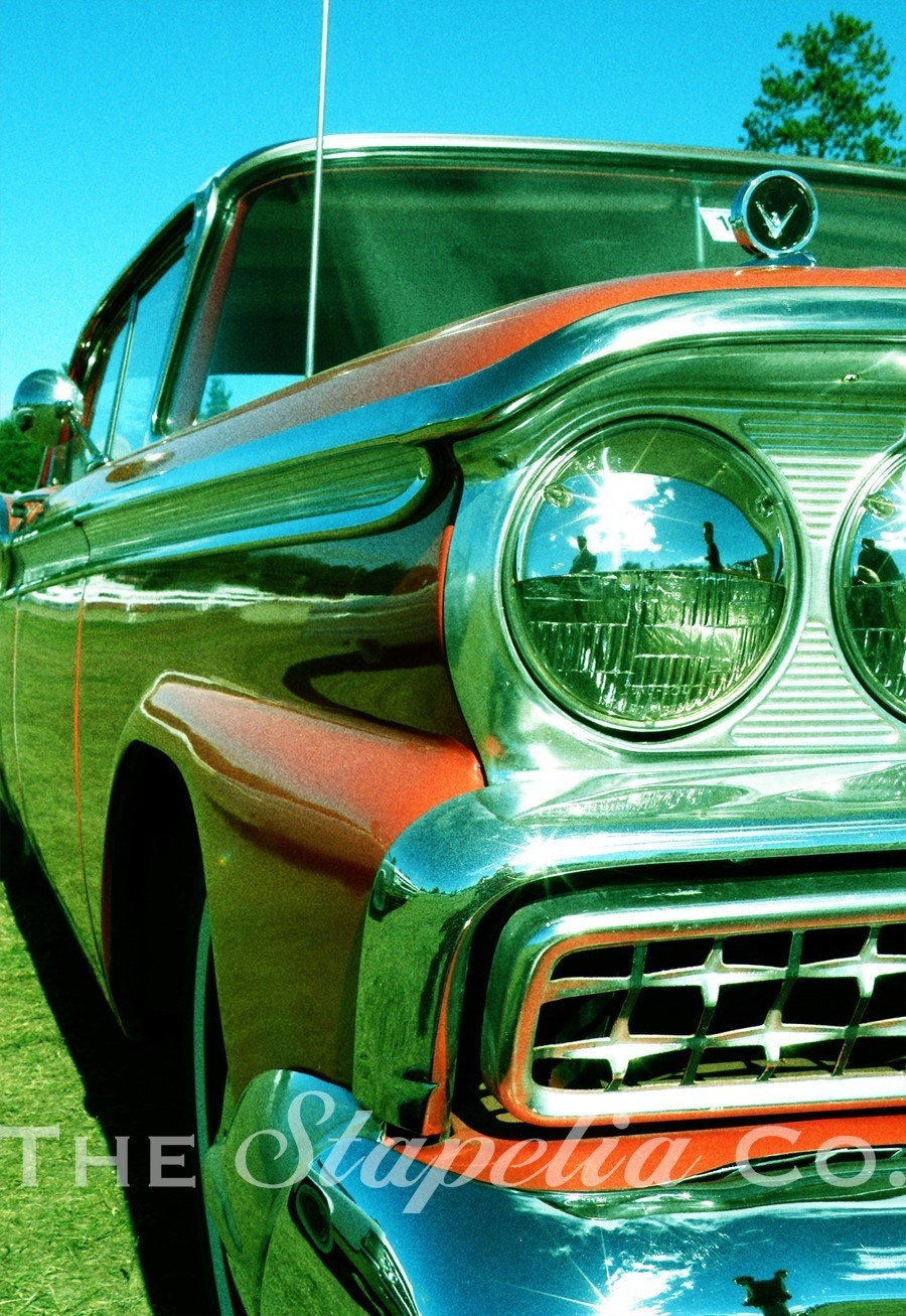 Orange Ford Galaxie 1950s Car