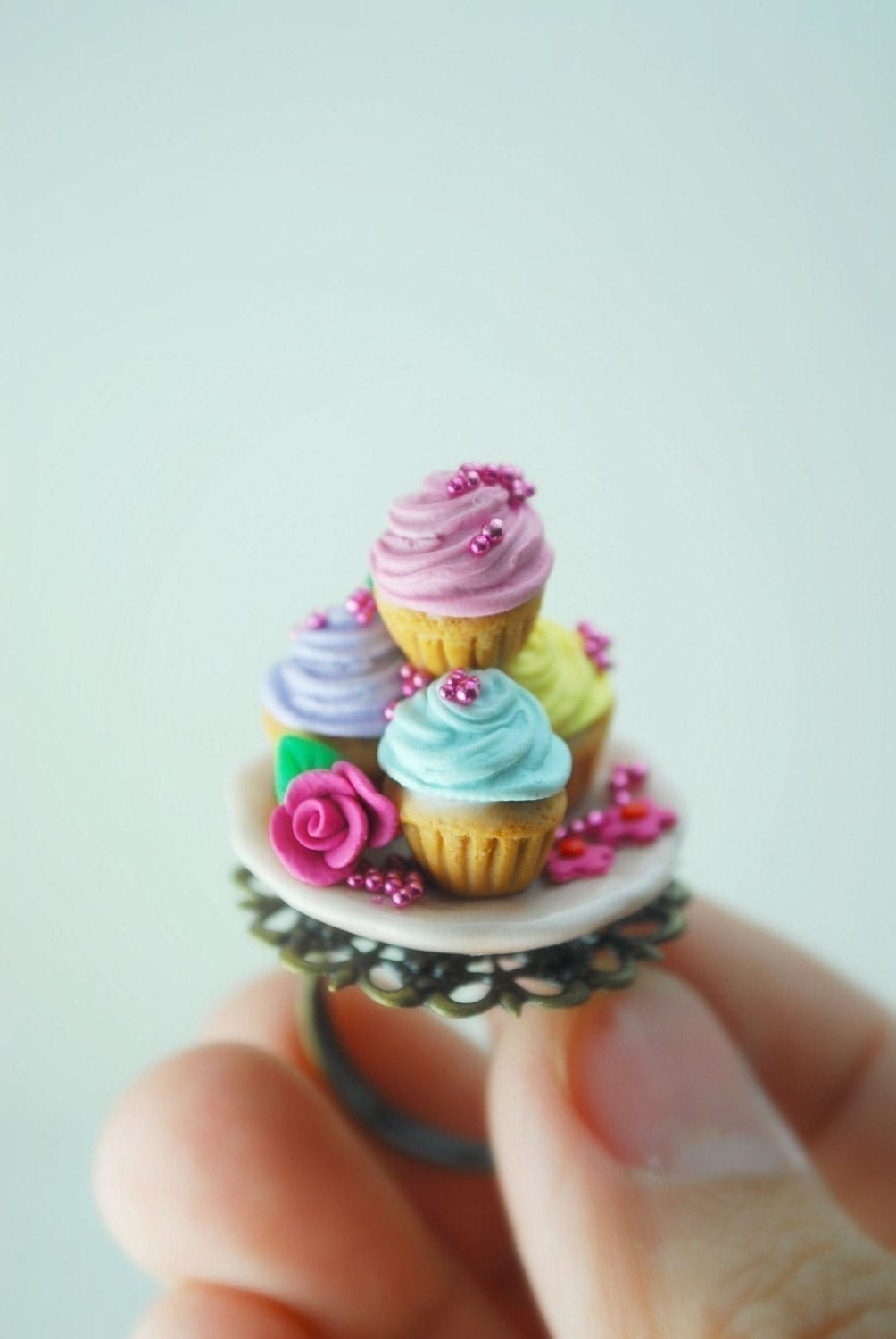 Marie Antoinette Cupcake Ring in Polymer Cla