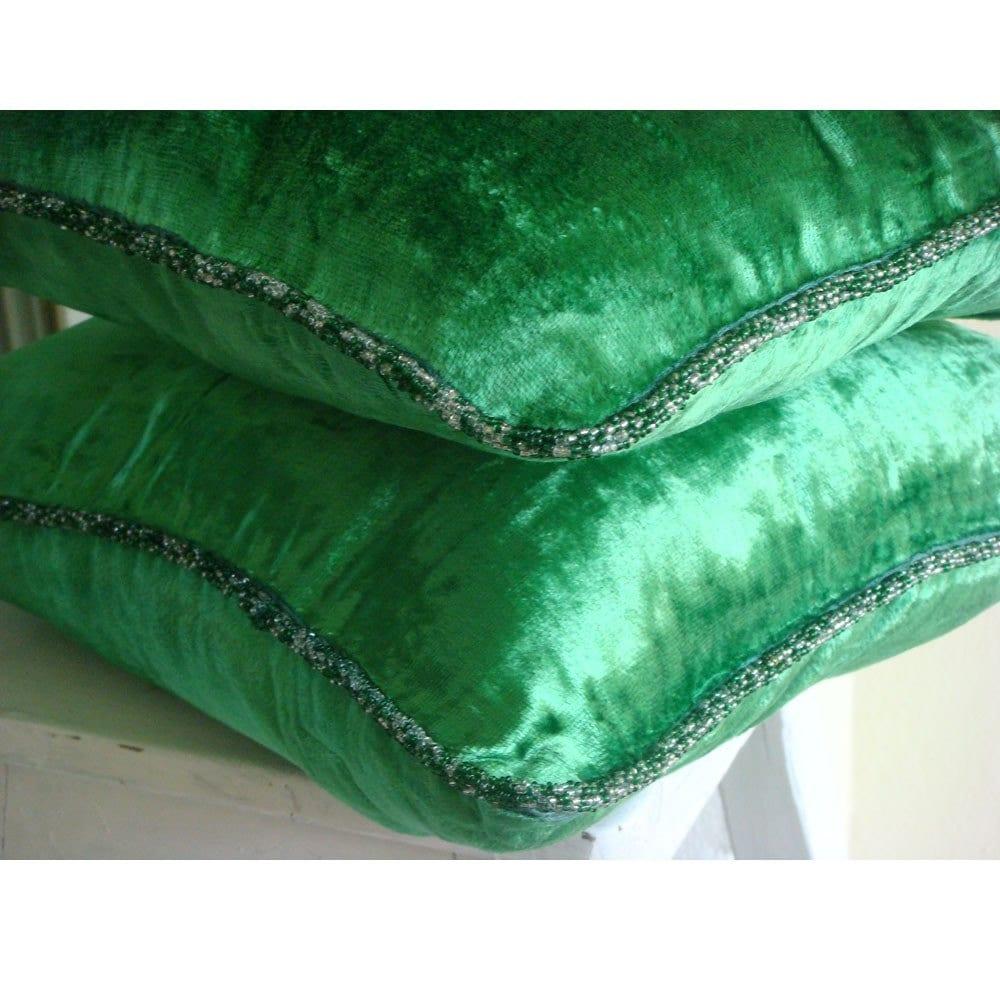 Velvet Emerald Green Cushion Cover Velvet 40x40 Cm