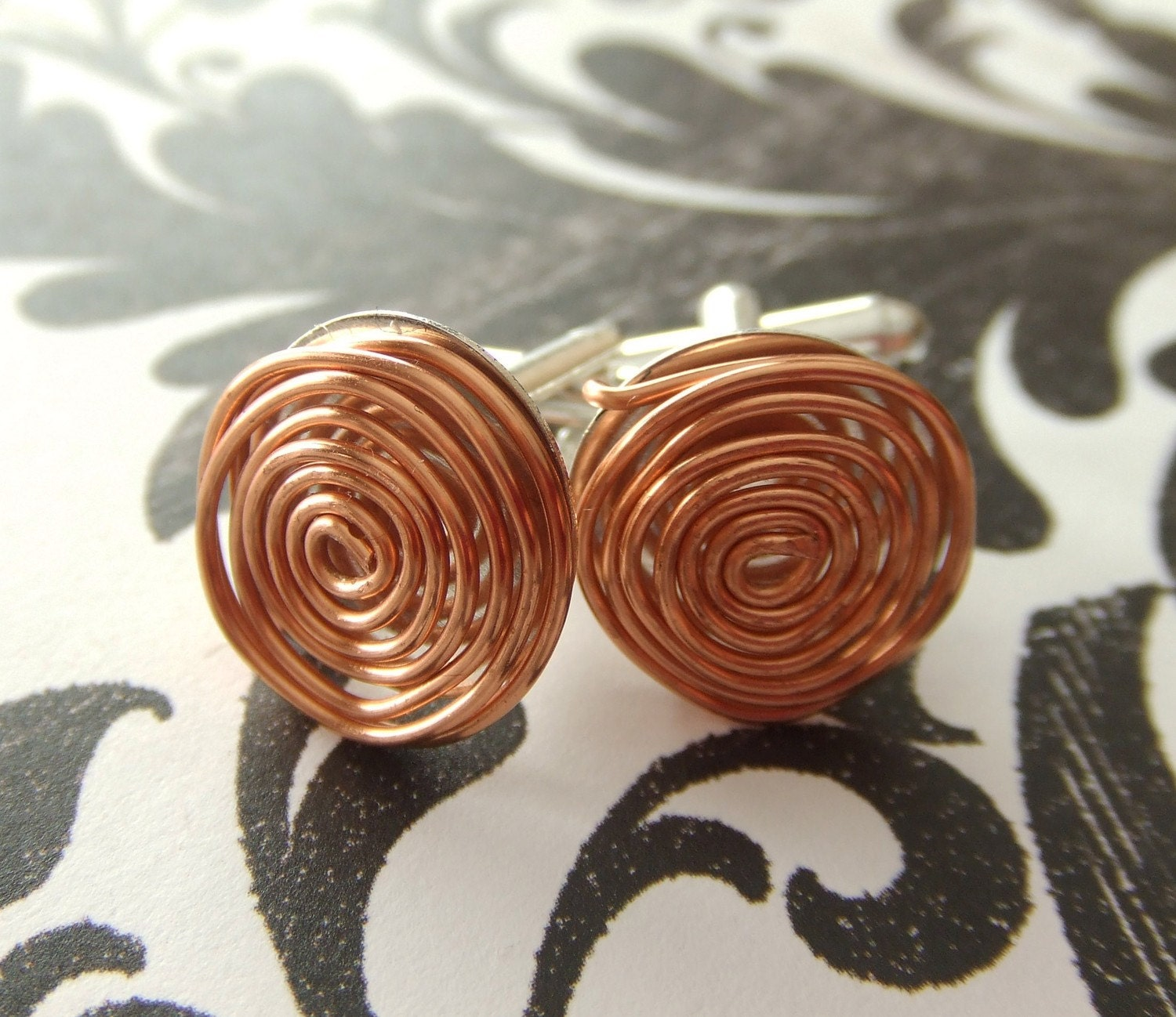Geometric Floating Copper and Silver Tone Cuff Links