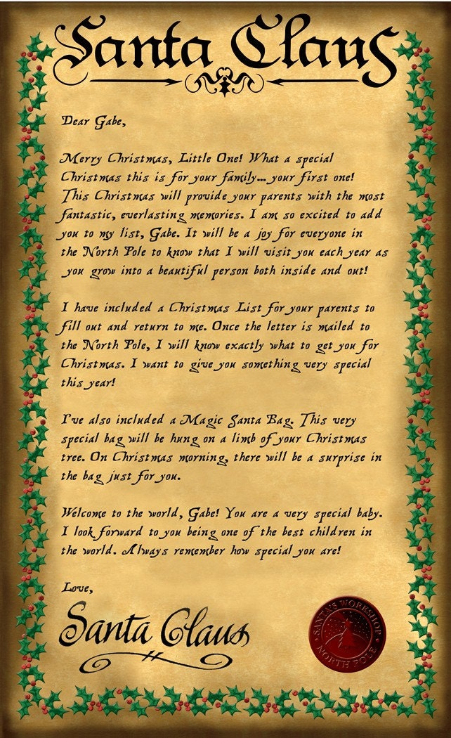 personalized letter from santa with reindeer food wahm forums