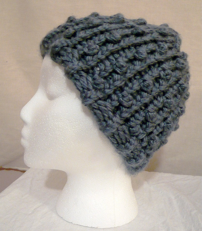 Denim Blue Popcorn Stitch Loom Knit Beanie FotoFuze