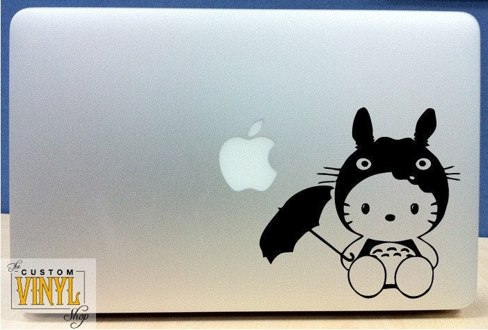 Hello Kitty in Totoro Costume - Macbook / Laptop / Wall Vinyl Decal Hello Kitty in Totoro Costume - Vinyl Macbook / Ipad Decal Sticker - Over 30