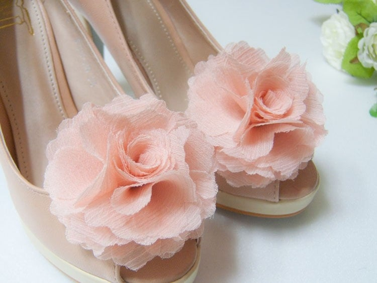 Chiffon Flower shoe clips, Pink, Peach pink, Coral pink