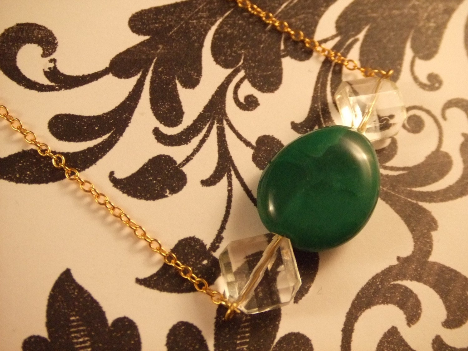 Green Pebble and Crystal Gold Necklace