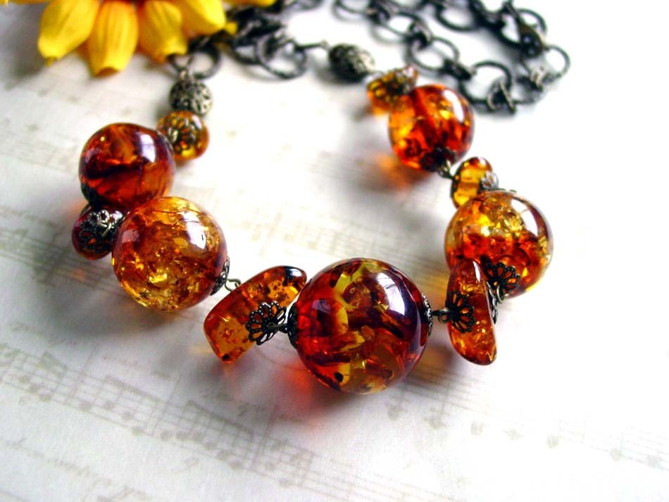 Cognac Amber Necklace :  fashion accessory designer jewelry natural