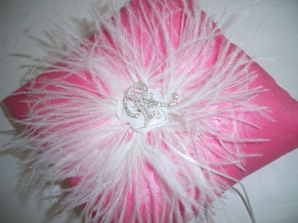 Candy Pink Pearlized Feather Damask Wedding Ring Pillow