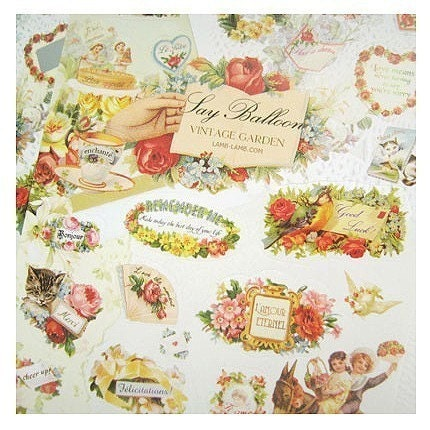 vintage garden sticker - 2sheet 40 pcs