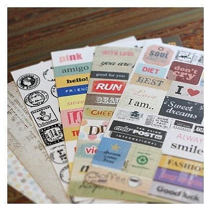 Stylish Diary Deco Message Sticker Set (6sheets)