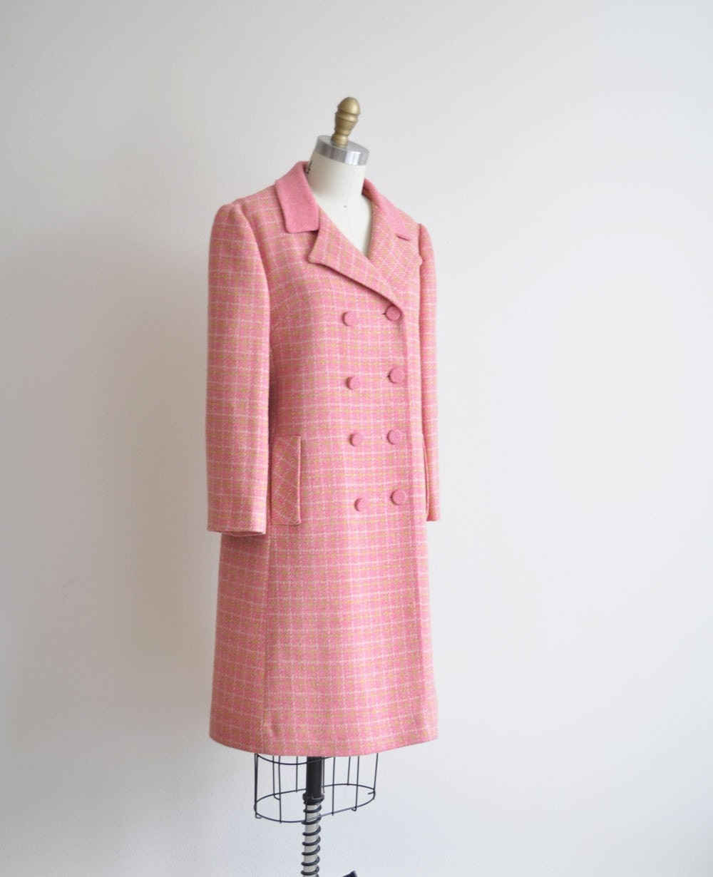 Vintage 60s PINK PLAID Winter Coat by MariesVintage on Etsy