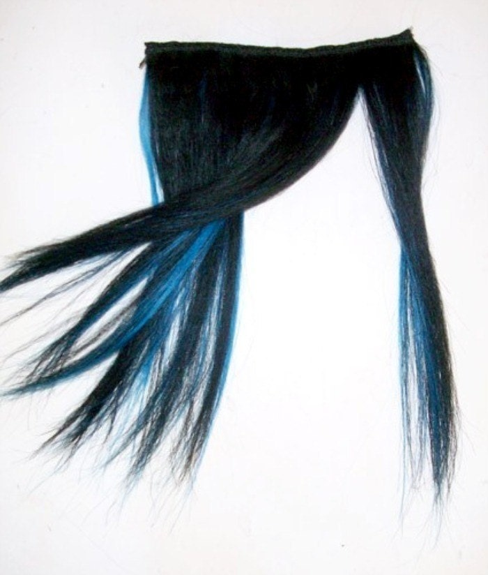 black and electric blue hair. Jet Black/Electric Blue Human