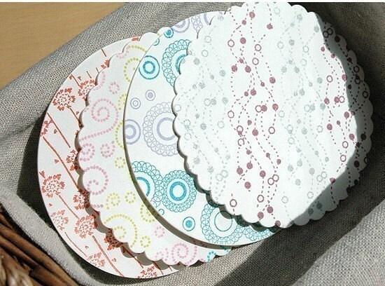 Paper Coaster - scallopped circle 30pcs
