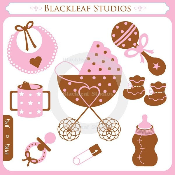 baby shoes clipart. Baby Girl Clipart Set is a