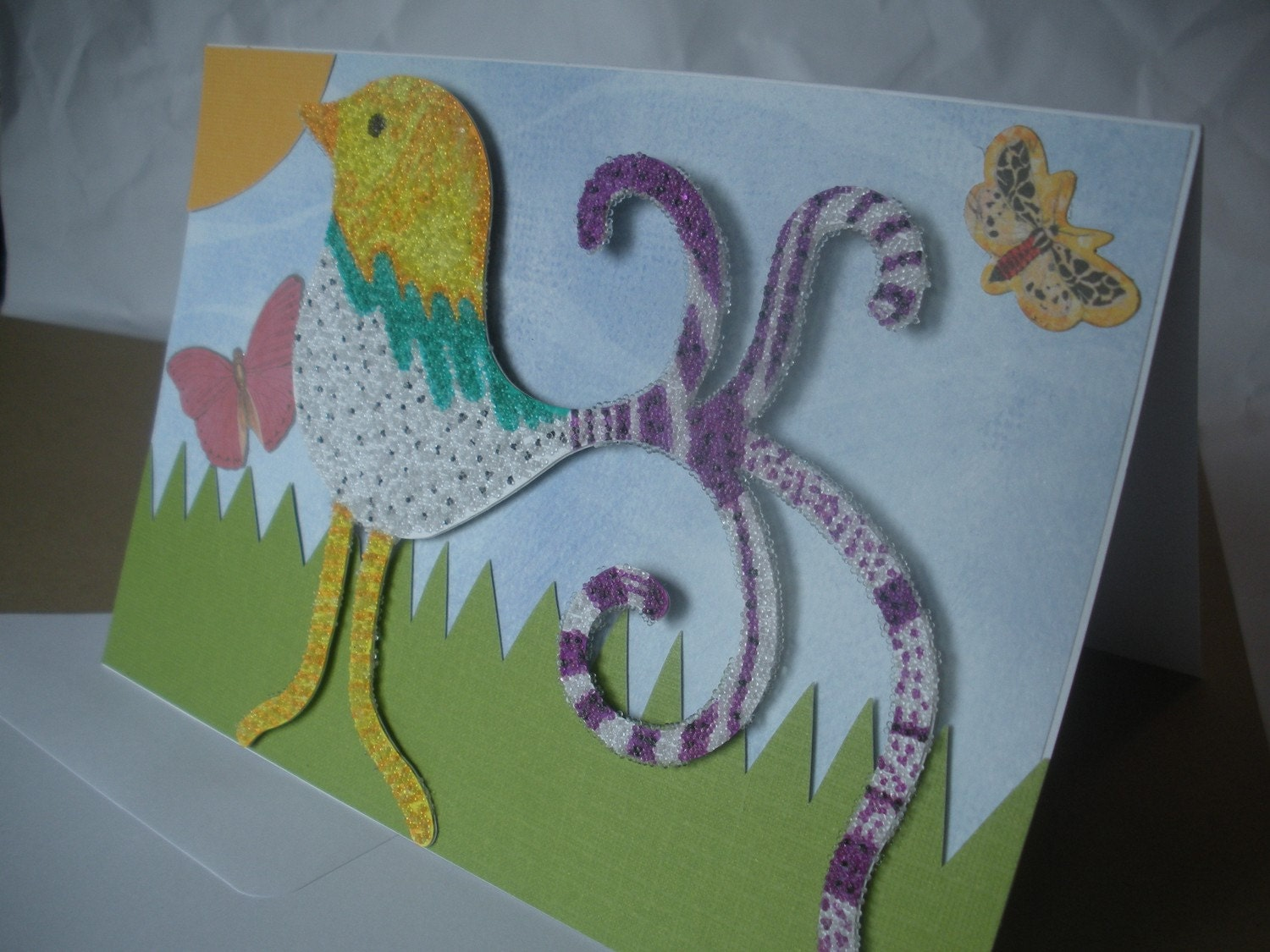 Handmade Blank Greeting card with Detachable Bird Magnet