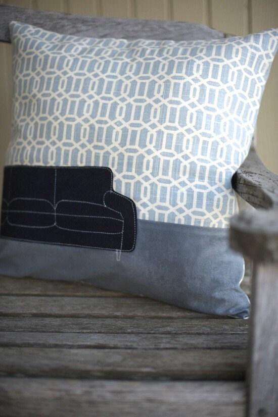 machine applique modern couch pillow
