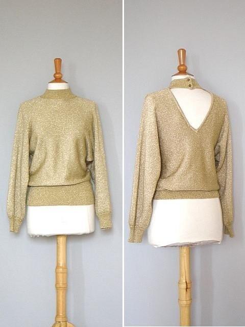 Vintage Gold Shimmer Evening Sweater