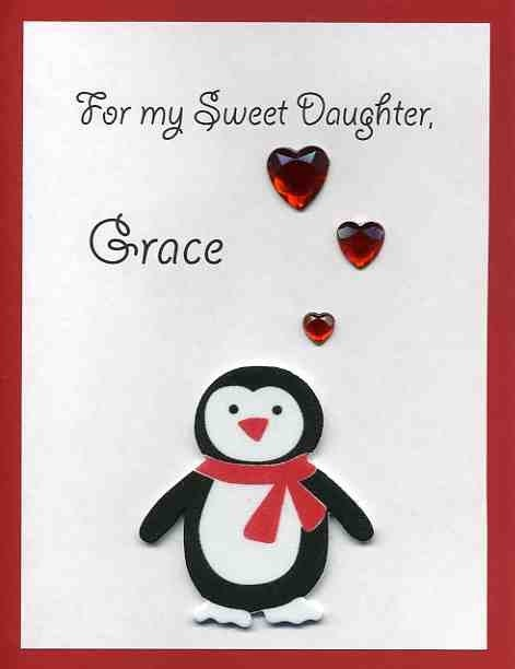 Perfect Penguin card for a niece, granddaughter, or daughter on valentines day