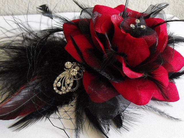 Stunning Couture Headpiece in Black and red or Champagne Ivory