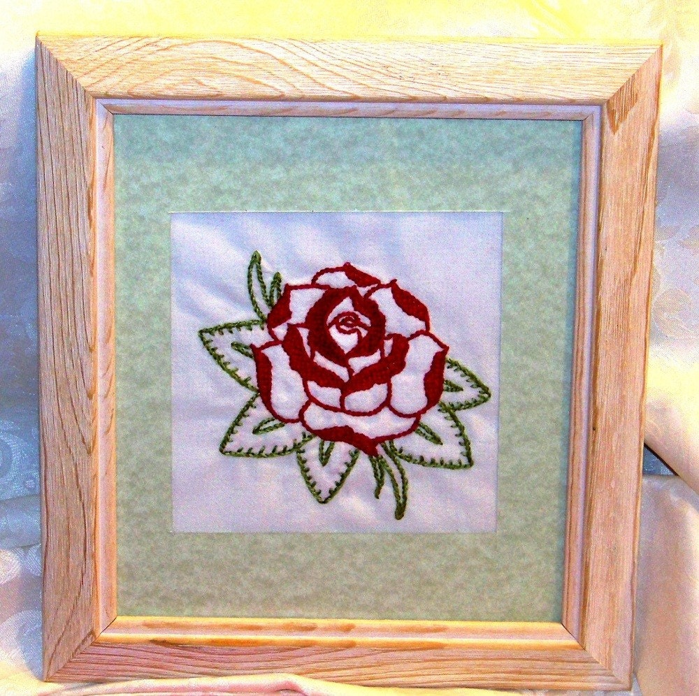 Old School Rose HandEmbroidered Framed Tattoo Art