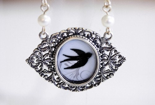Blue Sparrow Pendant Necklace