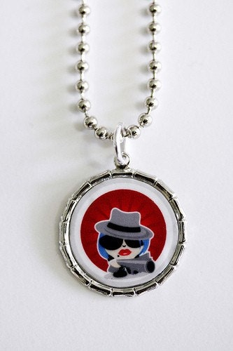 Mobster Girl Pendant Necklace