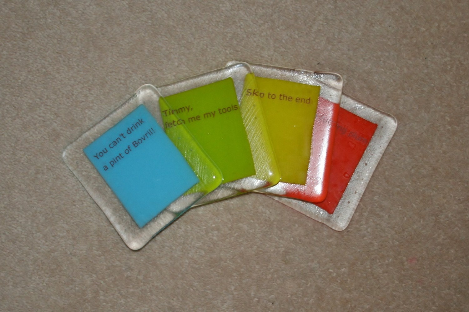 Spaced Quotes Clear Border Coasters made to by WestArtAndGlass