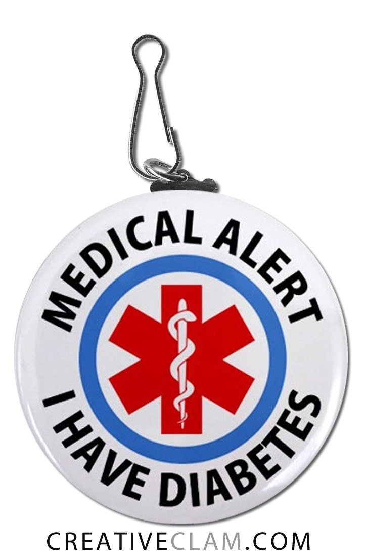 Have Diabetes Medical Alert Symbol Large Warning Pull Charm Clip Tag