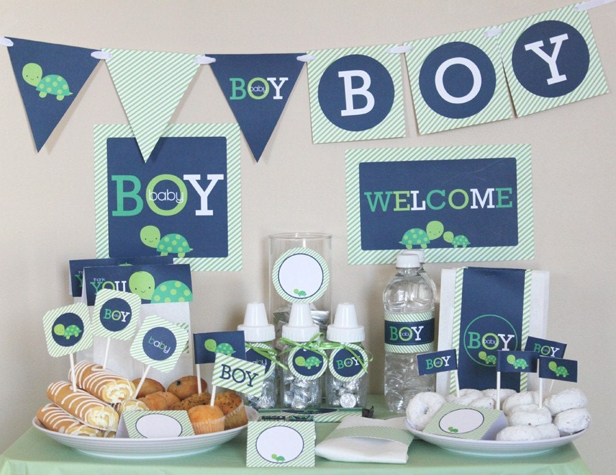 Stockberry studio turtle boy baby shower printable package for Baby shower decoration online