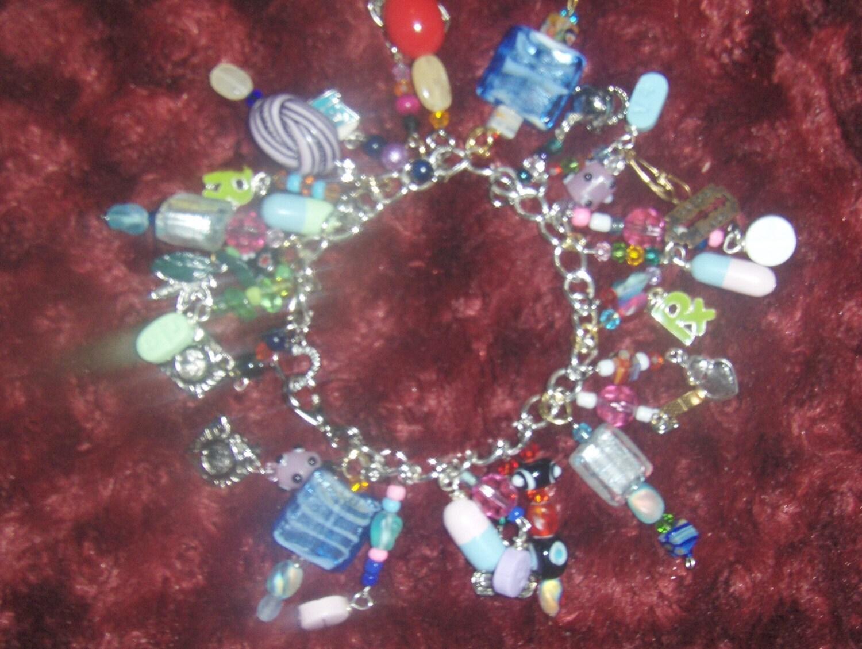 Vintage Charm Bracelet Medical Rx Pills Meds FREE SHIPPING Wow.
