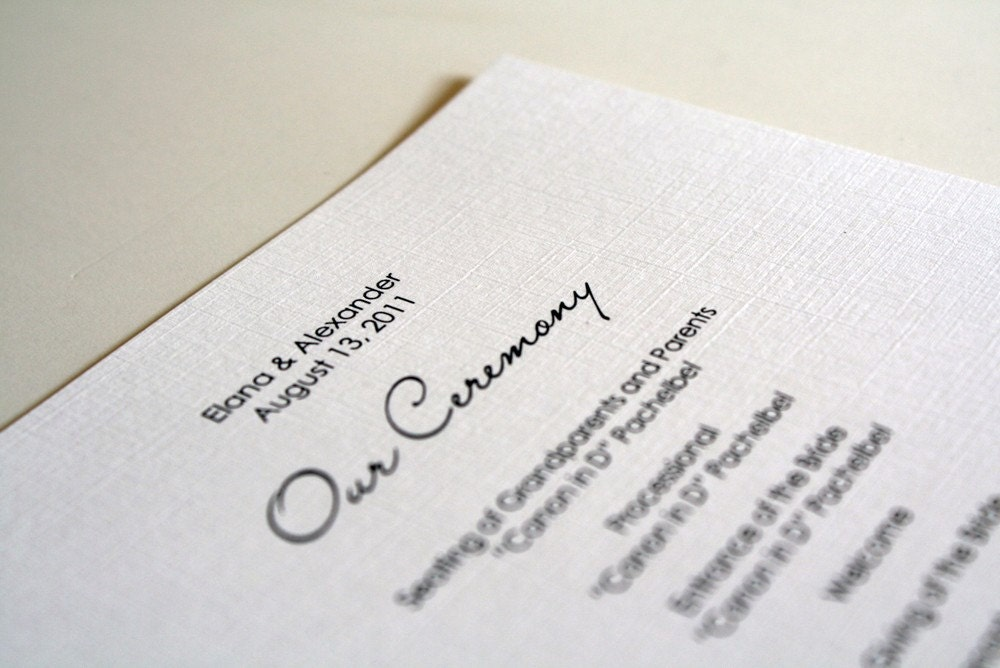 Simple Wedding Ceremony Program Sample From sarahcoatsdesigns