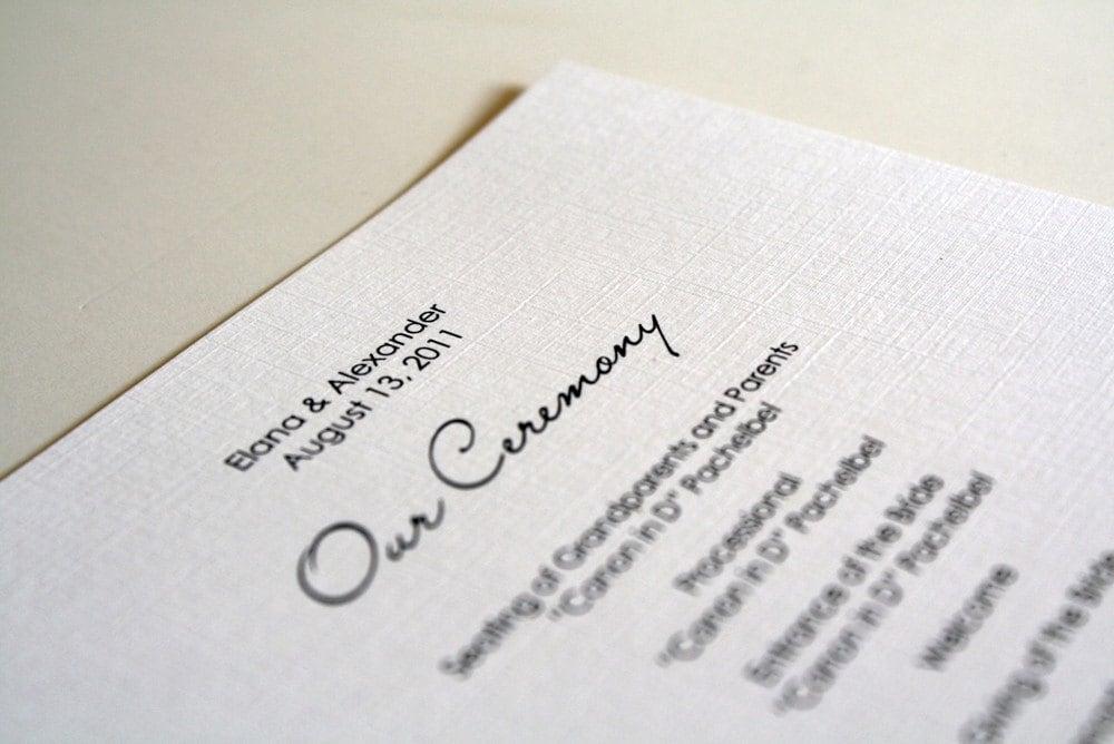 Simple Wedding Ceremony Program Sample From sarahcoatsdesigns